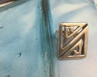 Vintage Geometric 925 Sterling Silver Ring, Free Domestic Shipping