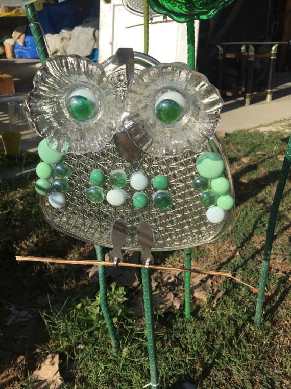 Items similar to free shipping repurposed glassware quail for Recycled glass garden ornaments