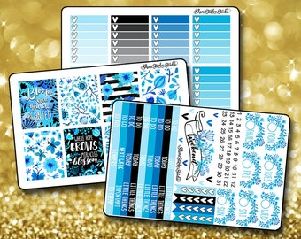 Blooming Blue - Vertical Planner Stickers Erin Condren Life Planner  ECLP Blue Floral Watercolor Stickers