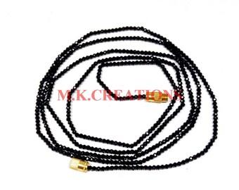 "On Sale Natural Black Spinel 2-3mm Faceted 26"" Beads Necklace - Spinel Necklace - Spinel Faceted Beads -Beaded Necklace - Spinel Rondelle"