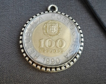 Necklace Portugal, Numismatist,Portugal Coin, Money Portugal, Neck adornment, Coins Jewelry, Resin, Portugal Jewelry