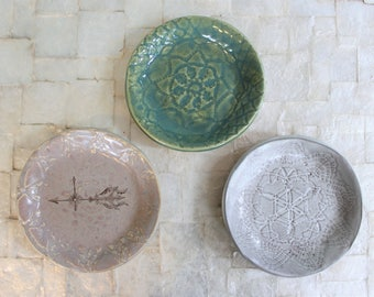 "Large ring dish | 4"" handbuilt stoneware trinket dish"