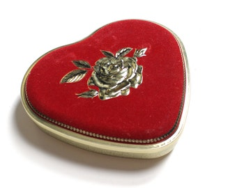 Vintage Heart Shaped Tin Container with Velvet Embelished Lid - Stamped Made in West Germany