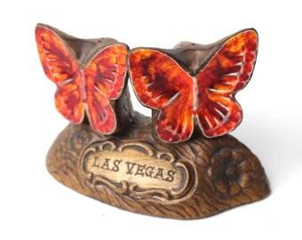 Vintage Las Vegas Butterflies Salt & Pepper Shaker Set by Treasure Craft