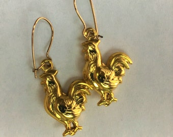 Vintage Chicken or Rooster Drop Earrings , 14k Gold Filled, Antique Jewelry, Gifts