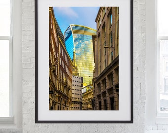 Golden Skygarden photographed from the streets of London by International fine art photographer Tanya Antalikova - architecture, urban photo