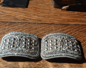 Victorian Steel Cut  Shoe Buckles with leather case