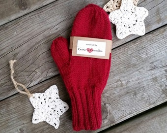 Handknit Wool Mittens in Cranberry, Women's Mittens, Red Mittens