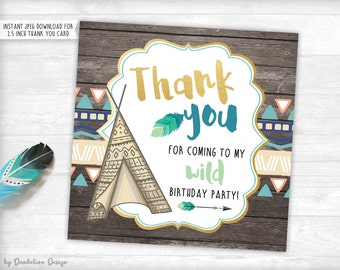 Wild One! Birthday Thank you Tag Printable Instant Download