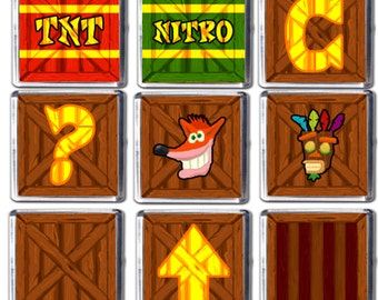 Crash Bandicoot Fridge Magnets -  Set of 9 Crash Crates