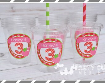 Set of 10 or 20-Strawberry Birthday Party Cups, Lids & Straws, Favor Cups