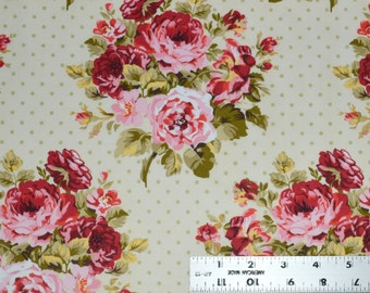 Red Roses Fabric, Cotton Fabric, Floral Apparel Fabric, Bouquet of Roses Fabric