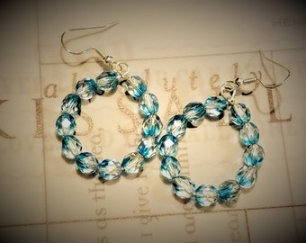 Dangle Hoop Earrings with Blue Sparkle Crystal Beads, Gifts for Her, Valentine, Something Blue, Gifts for Mom, Bridesmaid.