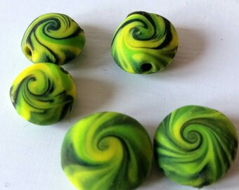 Lime green and yellow swirl disc beads