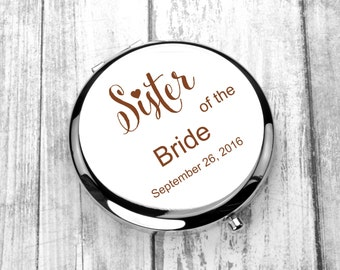 Monogrammed Mirror, Engraved  Personalized Pocket Mirror, Compact Mirror Wedding Gift, Mother of the Bride, Mother of the Groom,Purse Mirror