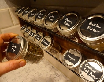 Hanging 8oz Mason jar spice rack, Hand made, kitchen storage, mason jar decor, spices