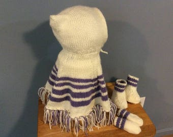 Hand Knit Baby Poncho, Mittens,& Booties - Up to 1 Year Size