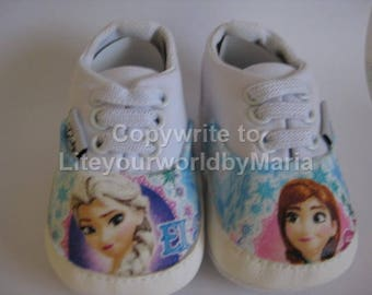 Baby Girl  Frozen Inspired Shoes, Baby girl, girl shoes, first shoes,0-6months, soft sole shoes,