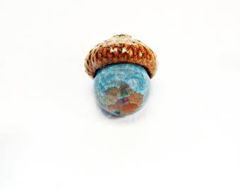 Blue Haze Fire Agate Acorn Pendant Necklace