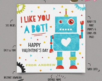 INSTANT DOWNLOAD - EDITABLE Valentine's day Card Robot Valentines Day card for kids Valentine's school Card Valentines day favor tag