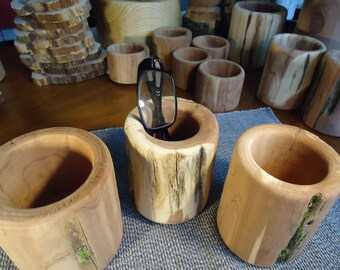 Hand turned aromatic cedar pen and pencil holder set of 3