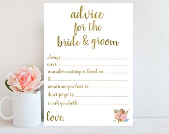 Wedding Advice Card, Bridal Shower Games Printable Instant Download, Advice for the Bride and Groom, Floral Sign, Wedding Shower Games BRSG1