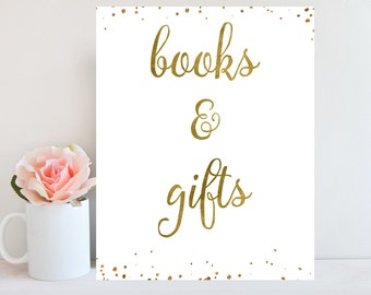 Books and Gifts Sign, Gold Confetti, Baby Shower Sign, 8x10 Cards and Gifts Sign, Instant Download, Gift Table Sign, Baby Shower decor
