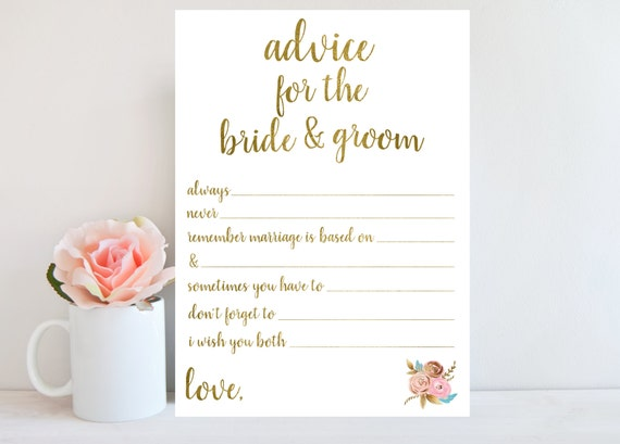 Wedding Advice Card Bridal Shower Games Printable Instant