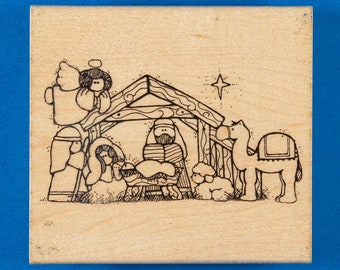 Christmas Nativity Rubber Stamp by D.O.T.S. - Baby Jesus in Manger with Mary & Joseph Plus Animals - #R 101