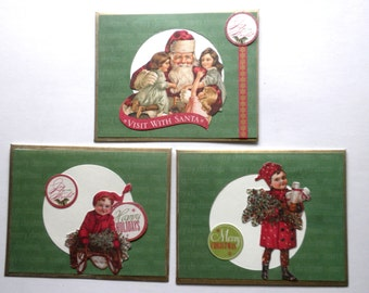 VICTORIAN Theme Christmas Note Cards Set of 3 Stationery