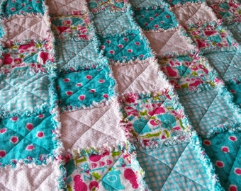"""Pink and Turquoise Rag Quilt - 36""""X48"""""""