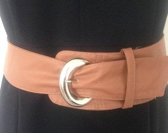 Women's Tan Dress Belt / faux leather