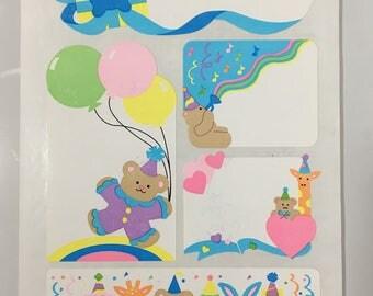 Vintage Sandylion Party Animals Labels Stickers. Bears, Bunnies, Giraffe, Monkeys, Balloons