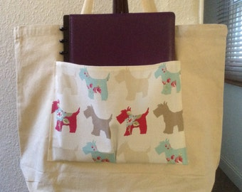 Scottie Dog Pocket - Canvas Tote Bag