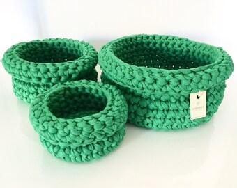 SCONTO Set di 3 cestini VERDE all'uncinetto | crochet baskets | crochet bowls