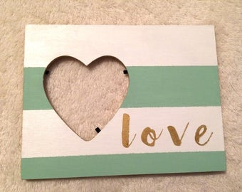 wooden love picture frame