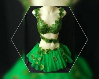 Poison Ivy inspired costume rave bra