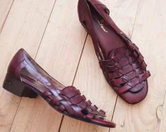 Vintage leather burgundy etienne aigner sandals slipper shoes 40