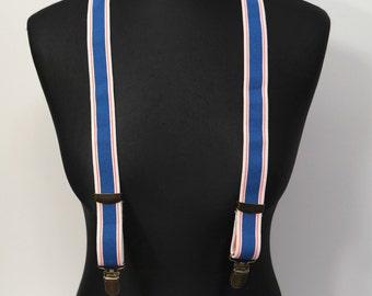 Vintage Men's Suspenders, Blue Clips Suspenders, Striped Suspenders, 1980s