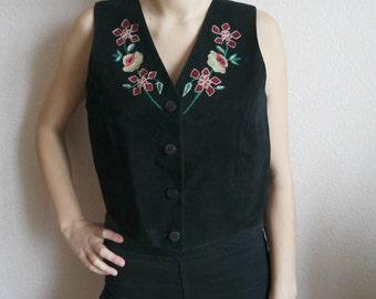 Women's Black Leather Vest, Black Suede Vest,  Vest With Embroideries , Size M