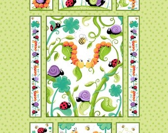 """Leif the Caterpillar Quilt Panel 36"""" from Susybee - juvenile susy bee quilting cotton woven fabric character children kids bugs cartoon"""