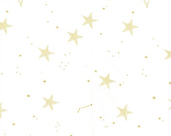 Gold Stars on White by Sarah Jane for Michael Miller woven metallic gold white MD7194-WHT lucky  fabric magic! quilting