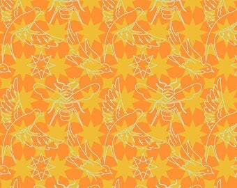 Seventy-Six by Alison Glass Flourish in Marigold A-8446-O cotton fabric andover modern material quilting supplies orange tonal stars
