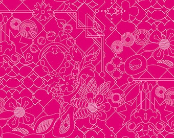 Sunprint 2017 by Alison Glass Overgrown in Amaranth A-8482-E cotton fabric andover modern pink fuschia
