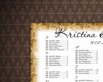 Wedding Seating Chart Template, Gold Seating Chart Poster DIY, Wedding Signs, code-022