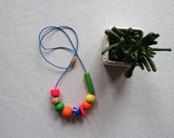 Handmade Polymer Clay Geometric Beaded Necklace Neon