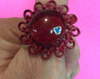 Beautiful red glitter ring