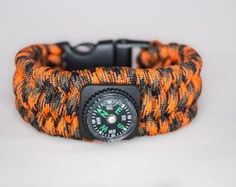 Orange Camo trilobite survival paracord bracelet