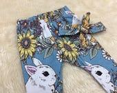 Bunny Rabbit Leggings  Matching Headband  Rabbit Leggings  Birthday Gift  Girls Leggings  Easter Bunny  Baby Leggings  Matching Set