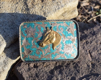 Turquoise Chip Inlay With Beautiful Silver Flower Design and Gold Plated Horse Belt Buckle, Used Vintage